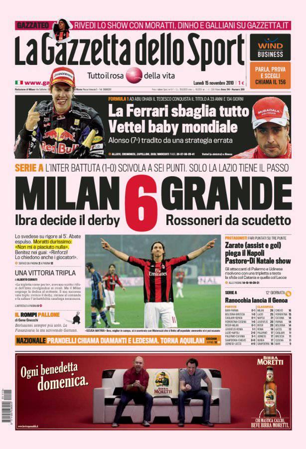 Gazzetta dello Sport, Milan 6 grande