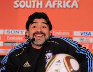 Maradona quando allenava l'Argentina ai mondiali del 2010