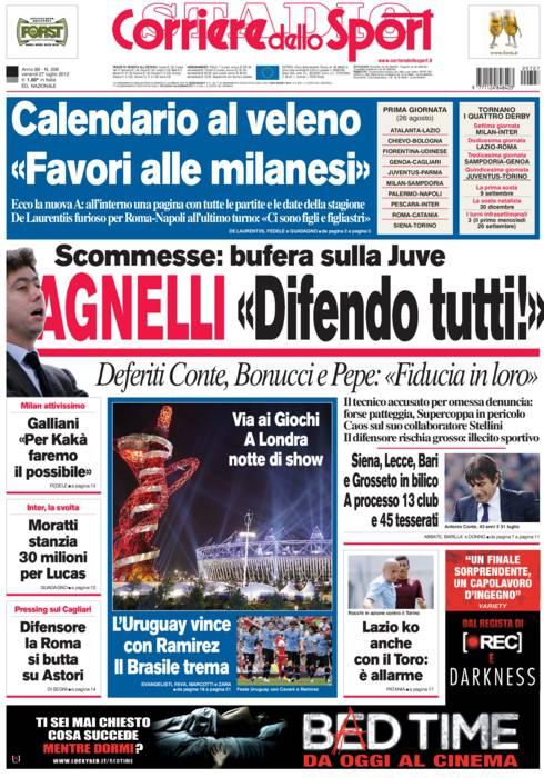 Corriere Dello Sport Calendario.Corriere Dello Sport Agnelli Difendo Tutti