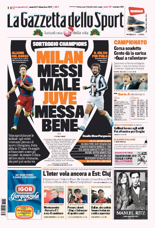 la gazzetta dello sport milan messi male juve messa bene. Black Bedroom Furniture Sets. Home Design Ideas