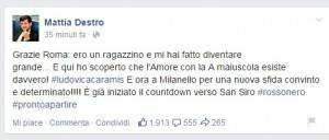 (Profilo Facebook di Destro)